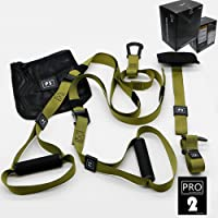 Hqeupiaso Suspension Trainer Basic Kit + Door Anchor, Complete Full Body Workouts Kit for Home and on The Road