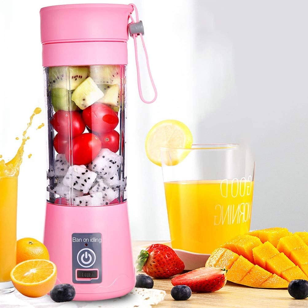 Portable Smoothie Blender, Personal Size Blender USB Rechargeable Personal Blender with 6 Blades 4400mAh Mini Mixer Juicer Cup Small Shakes and Smoothies Travel Blender, Pink