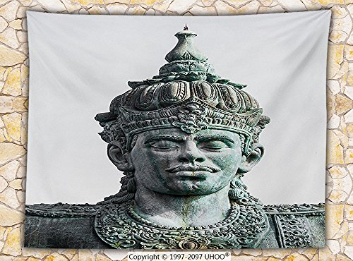 Balinese Decor Fleece Throw Blanket Wisnu GWK Cultural Park Bali Indonesia Ancient Architecture Statue Carving Print (Ninja Turtle Pumpkin Carving)