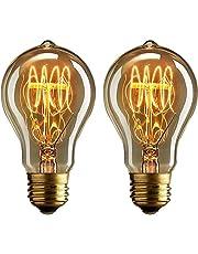 Dosbombillas vintage Edison de 40 vatios de Buyee, de luz blanca y cálida y con filamentos de hilo de estilo jaula