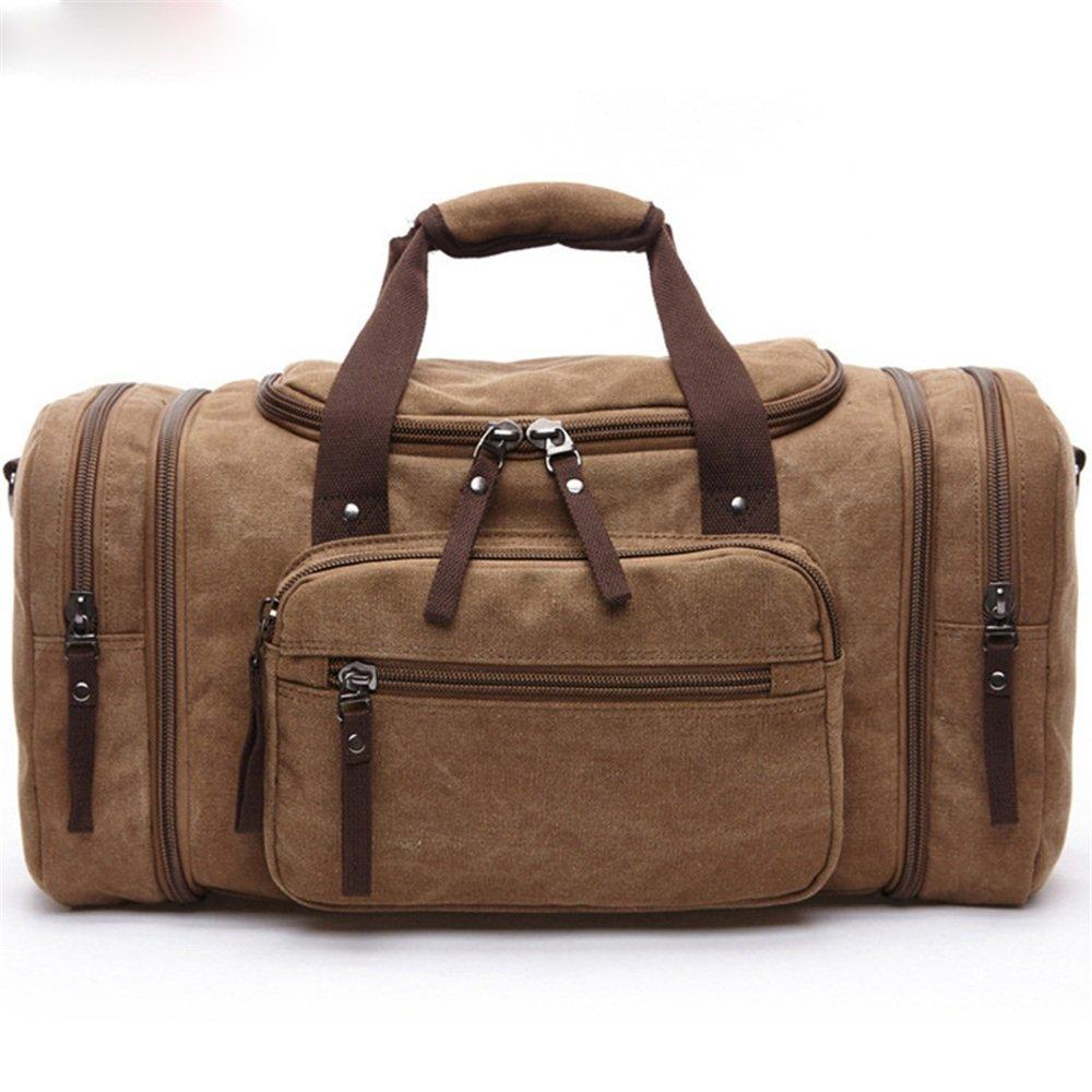 大容量ジムバッグキャンバスバッグサッチェルバッグ大型屋外ポータブル (色 : 褐色)  褐色 B07DL84WNR
