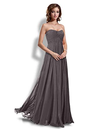 Long Bridesmaids Dresses Prom Dress Evening Wedding Gowns Gray-2