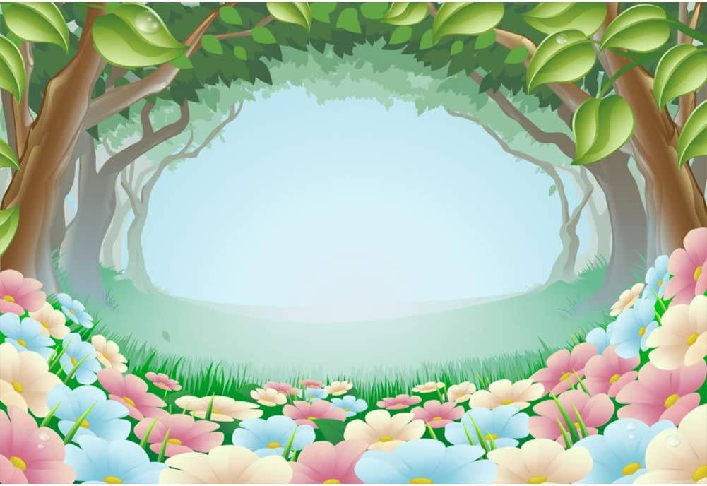 Amazon Com Baocicco 5x3ft Cartoon Forest Backdrop Pink Flower Carpet Cartoon Green Trees Arch Photography Background Enchanted Forest Theme Birthday Party Baby Shower Newborn Baby Girls Boys Portrait Studio Camera