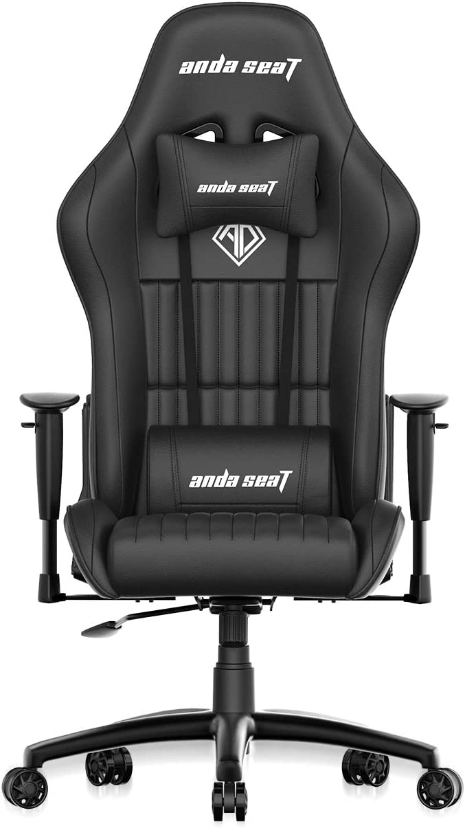 Gaming Chair,ANDASEAT Jungle Ergonomic Racing Computer Game Chair,5 Angle Adjustable Armrest Swivel Rocker Recliner Office Chair with High-end Leather,Headrest and Lumbar Pillow E-Sports Chair-Black