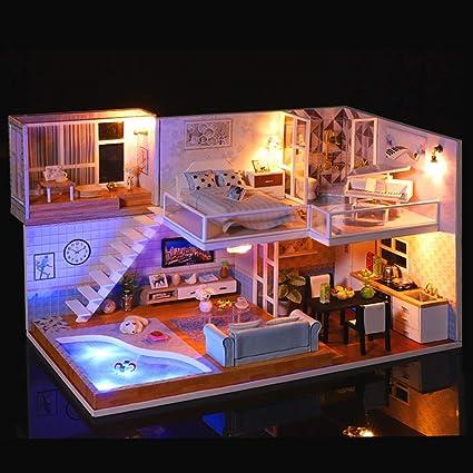 Doll Miniature Wooden House Studio Kit Furniture DIY Handcraft Toys Child Gift