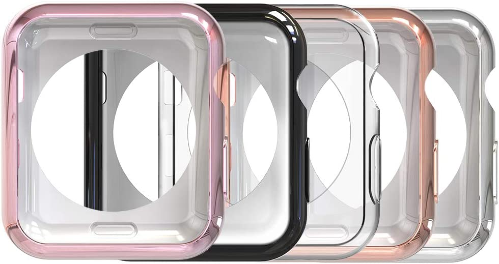 Simpeak Soft Back Case Compatible with Apple Watch 40mm Series 6 /5 /4 /SE, Pack of 5, Slim, Transparent, Black, Rose Pink, Rose Gold, Silver