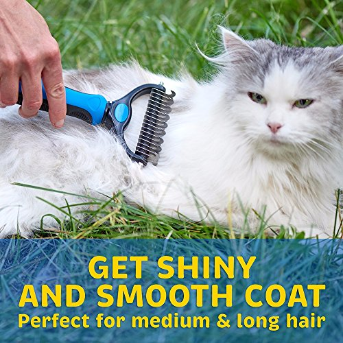 Remove Shedding Knots and Tangles Stainless Steel Safe Teeth for Small Medium Large Dog Cat and Pet. TwoEar Dog Grooming Rake Tool Undercoat Rake Two-Sided Head to Brush Hair Coat Mats