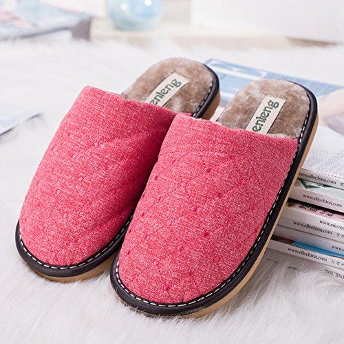 Icegrey Mujer Zapatillas de estar por casa Pantuflas Con Forro Cálido De Fieltro Guarnición Suave De La Rejilla Rosa roja