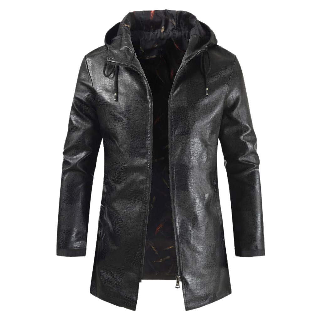 Allywit-Mens Winter Warm PU Leather Coat Hooded Faux Leather Stand Collar Jacket Plus Size Black by Allywit-Mens