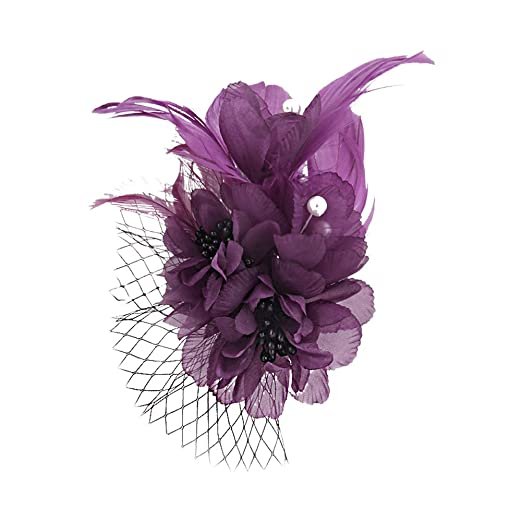 a85b361b Fascinators Song Qing Fascinator Feather Flower Hair Clip Pin Brooch  Corsage Bridal Hairband Party Wedding for Women