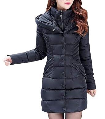 79d08c9313eb4 Amazon.com  Cromoncent Women Winter Padded Hooded Puffer Fleece Fake Two  Parka Jacket Coat  Clothing