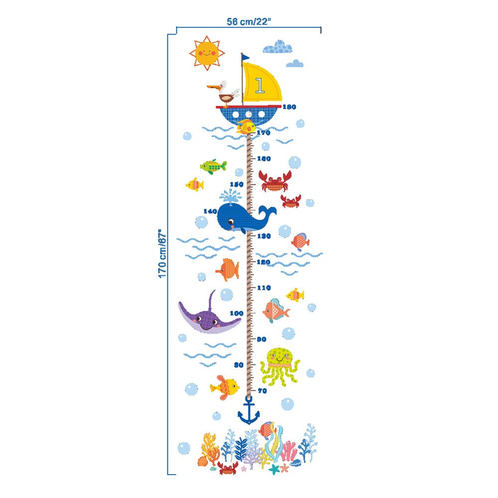 Meer Fisch Wal Ozean Wachstum Diagramm Wandtattoos Kinderzimmer Babyzimmer Height Chart Wandsticker