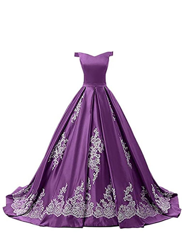 FWVR Womens Off Shoulder Ball Gown Prom Quinceanera Dresses Long Appliques Evening Gowns