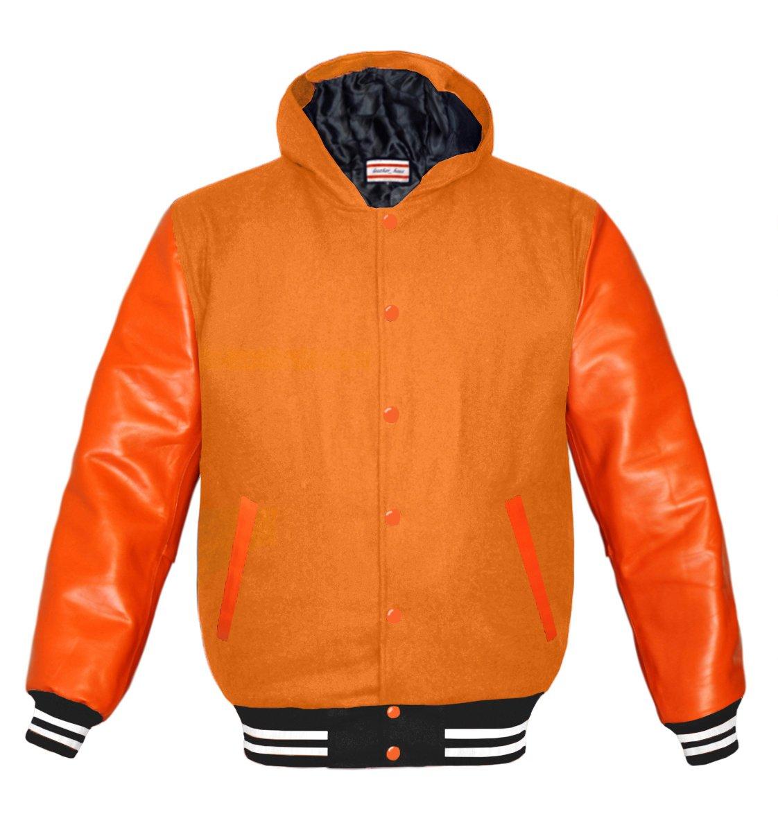luvsecretlingerie Superb Orange Leather Sleeve Original American Varsity Letterman College Baseball Kid Wool Hoodie Jackets by luvsecretlingerie