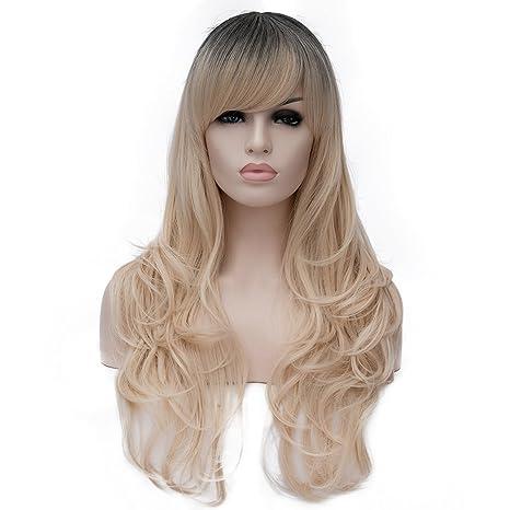 CE&CI Mujer Peluca de Pelo Largo Rizado Peluca con Frequillo Ondulada Lolita Disfraz Fiesta Peluca Sintetica