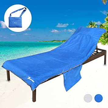 Extra Thick Beach Chair Cover,Pool Lounge Chair Towel Beach Towel With Side  Pockets (