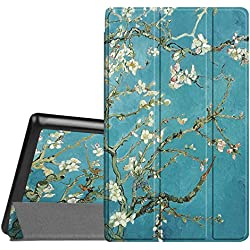 Fintie Slim Case for All-New Amazon Fire HD 8 Tablet (7th Generation, 2017 Release), Ultra Lightweight Slim Shell Standing Cover with Auto Wake / Sleep, Blossom