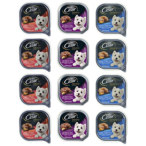 Mars Cesar Savory Delights Adult Canned Wet Dog Food Variety Pack - 3.5 Oz. Each - 3 Flavors - Angus Beef, Rotisserie Chicken, and Filet Mignon (12 Pack)