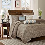 Madison Park Aubrey Full/Queen Size Quilt Bedding Set - Blue, Brown, Paisley Jacquard – 6 Piece Bedding Quilt Coverlets – Ultra Soft Microfiber Bed Quilts Quilted Coverlet