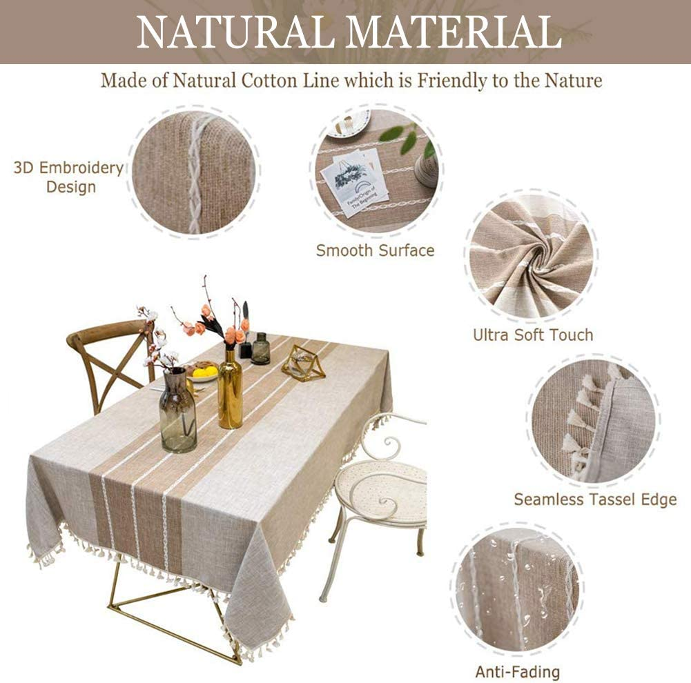 Vedouci Tassel Tablecloth Rectangle Table Cloth Cotton Linen Wrinkle Free Anti-Fading Tablecloths Washable Dust-Proof Table Cover for Kitchen Dinning Party(Oblong, 55''x120'',10-12 Seats,Light Coffee): Kitchen & Dining