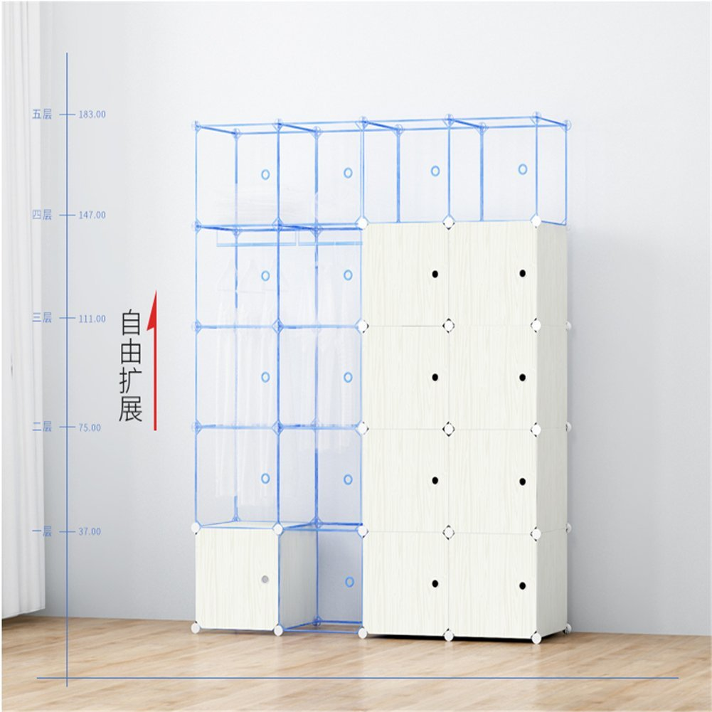 Expandable Adult Childrens Clothes Closet Wardrobe For Bedroom Cupboards Armoire Storage Organizer with Door Stickers, 8Doors 5 Cubes 1 Shelves White(75 x 47 x 147 cm) by Twoworld (Image #4)