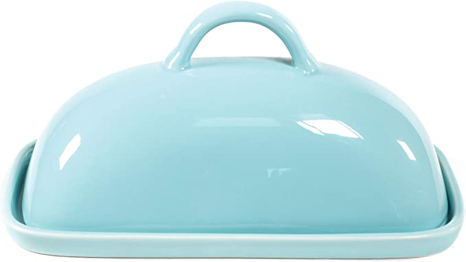 Ceramic Butter Dish With Lid Mason Covered Butter Dish Butter Keeper Holds 1 Full Stick Of Butter Includes Tray With Cover Blue Amazon Ca Home Kitchen