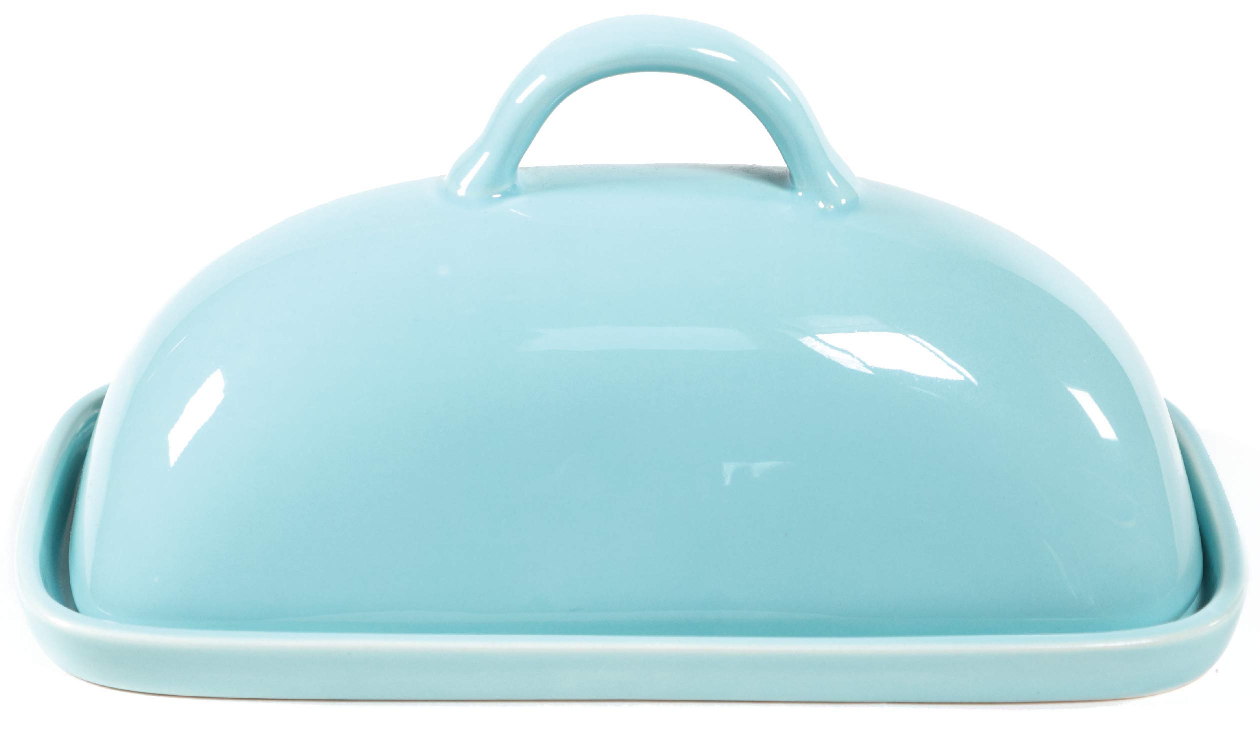 Ceramic Butter Dish With Lid - Mason Covered Butter Dish - Butter Keeper Holds 1 Full Stick of Butter - Includes Tray With Cover (Blue)