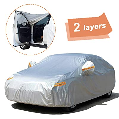 "SEAZEN Car Cover with Zipper,2 Layer Full Car Covers Waterproof All Weather,UV Protection Snowproof Dustproof,Universal Car Cover (Fit Sedan-Length Up to 200""): Automotive"