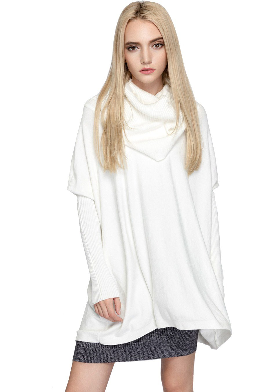 YSJ Womens Oversized Turtleneck Long Sleeve Knit Pullover Sweater Shirts (One Size, White)