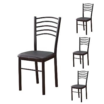 Lxn Simplicité Moderne Design Chaise En Fer Forgé En Cuir Noir, Chaises De  Loisirs Sans