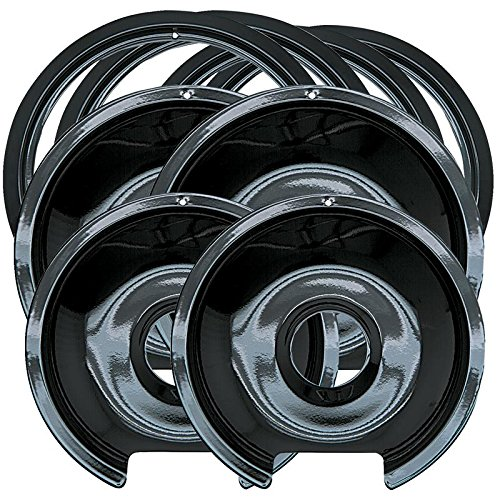 Electric Range Reflector Pan - Range Kleen P1056RGE8 Style D Black Porcelain 4-Pack Drip Pans and 4-Pack Trim Rings for GE/Hotpoint