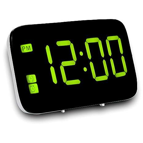 Mudo Despertador, Reloj despertador digital para niños Regulable Reloj de tiempo de pantalla LED Para