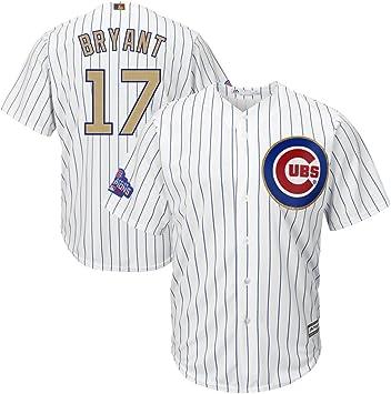 Kris Bryant Jersey hombre de béisbol Cubs 2017 oro programa camisetas Cool Base color blanco, XXL, Blanco: Amazon.es: Deportes y aire libre