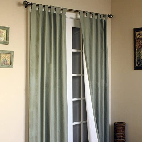 "Weathermate Solid Cotton Tab Top Curtain Panel Pair Size: 72"" H x 80"" W"