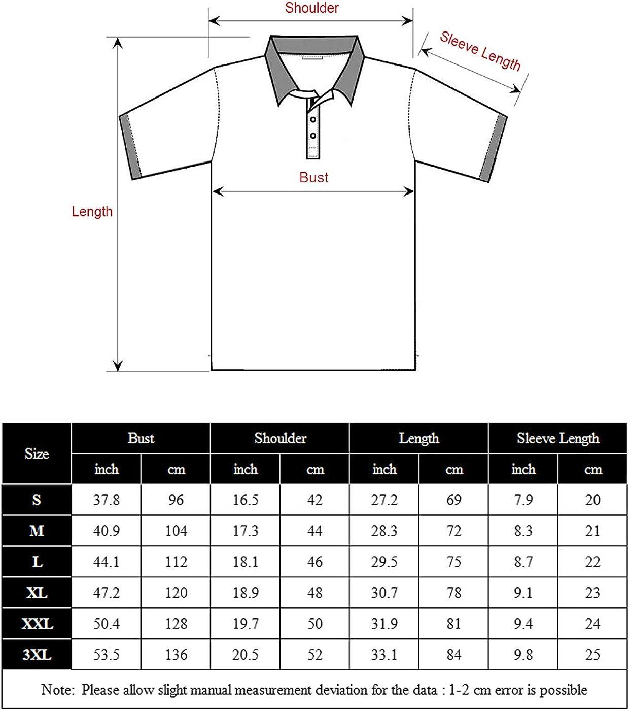 carinacoco Mens Polo Shirt Short Sleeve Classic Plaid Collar Regular Fit T-Shirt