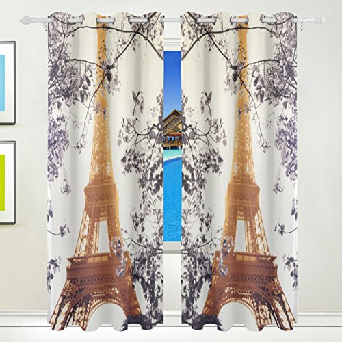 LEISISI Eiffel Tower Thermal Insulated Blackout Room Darkening Window Curtains for Bedroom Living Room 55