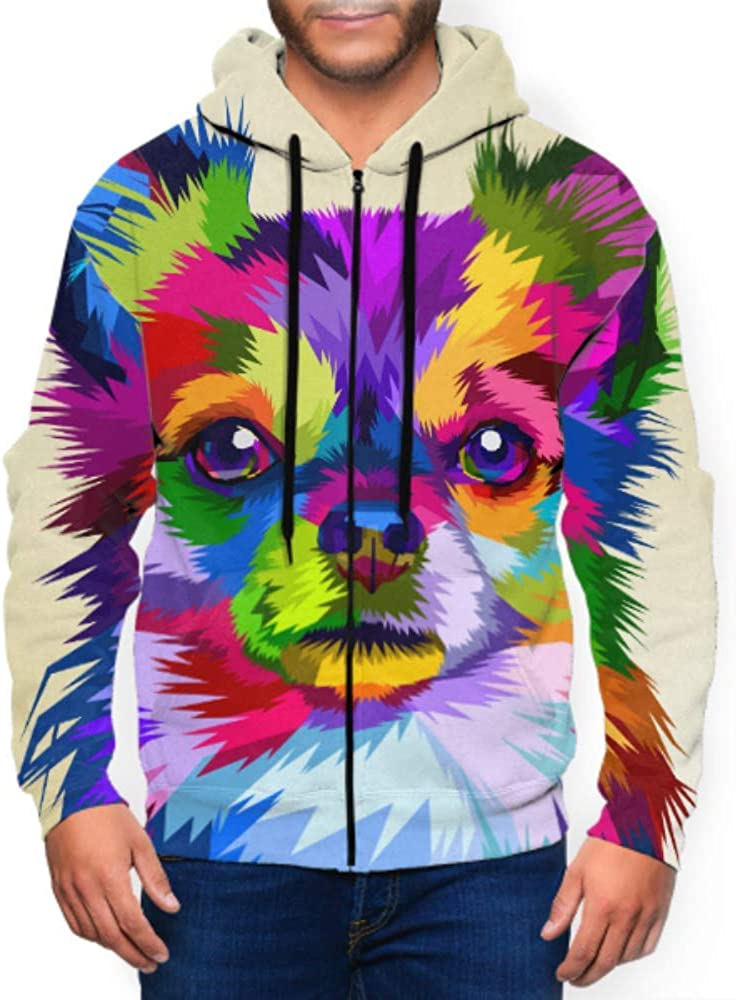 Long Sleeve Hoodie Print Colorful Chihuahua Dog Pop Art Style Jacket Zipper Coat Fashion Mens Sweatshirt Full-Zip S-3xl