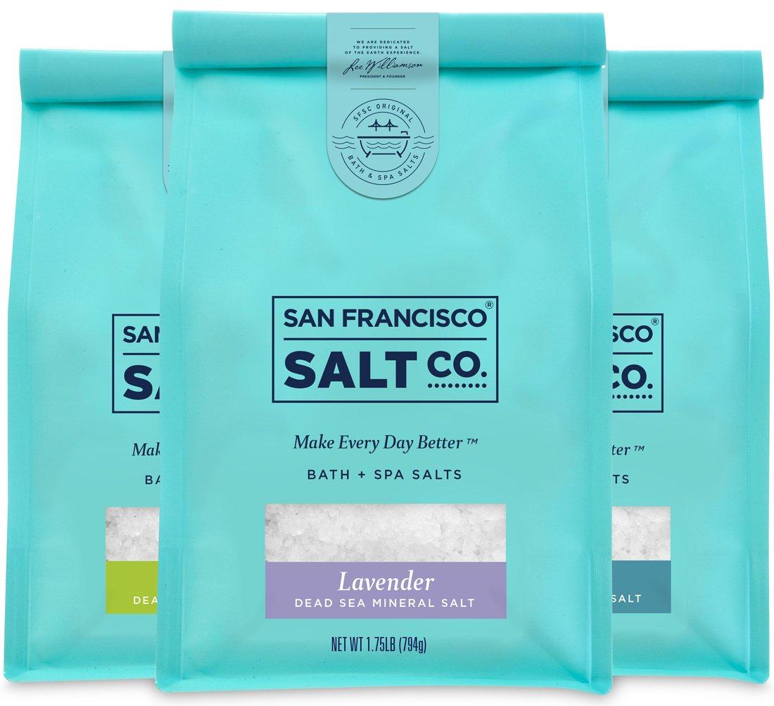 Dead Sea Mineral Bath Salt Variety 3 Pack: Pure Unscented Dead Sea Salt, Lavender Dead Sea Salt, and Eucalyptus Dead Sea Salt (1.75 lb bag of each) by San Francisco Salt Company by San Francisco Salt Company (Image #1)