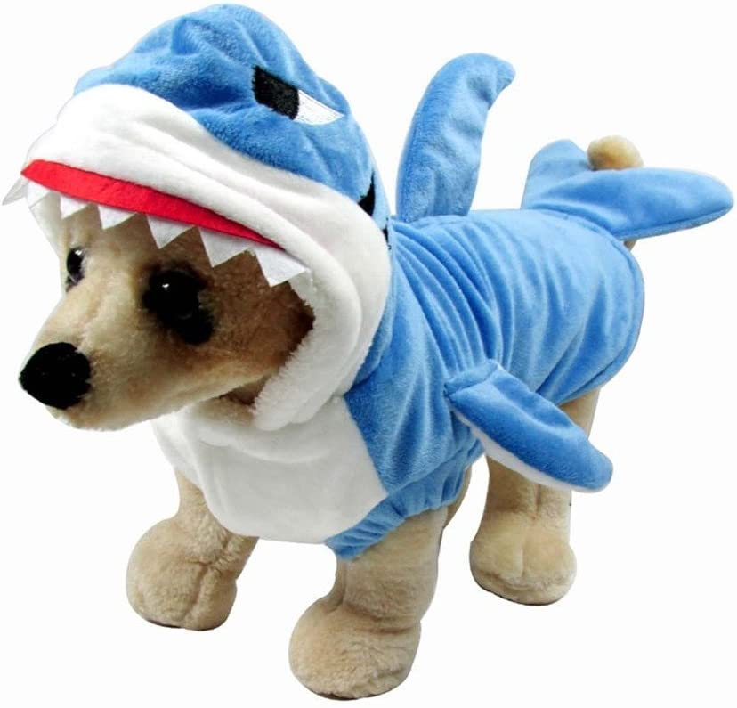 Mogoko Funny Dog Cat Shark Costumes, Pet Halloween Christmas Cosplay Dress, Adorable Blue Shark Pet Costume,Animal Fleece Hoodie Warm Outfits Clothes