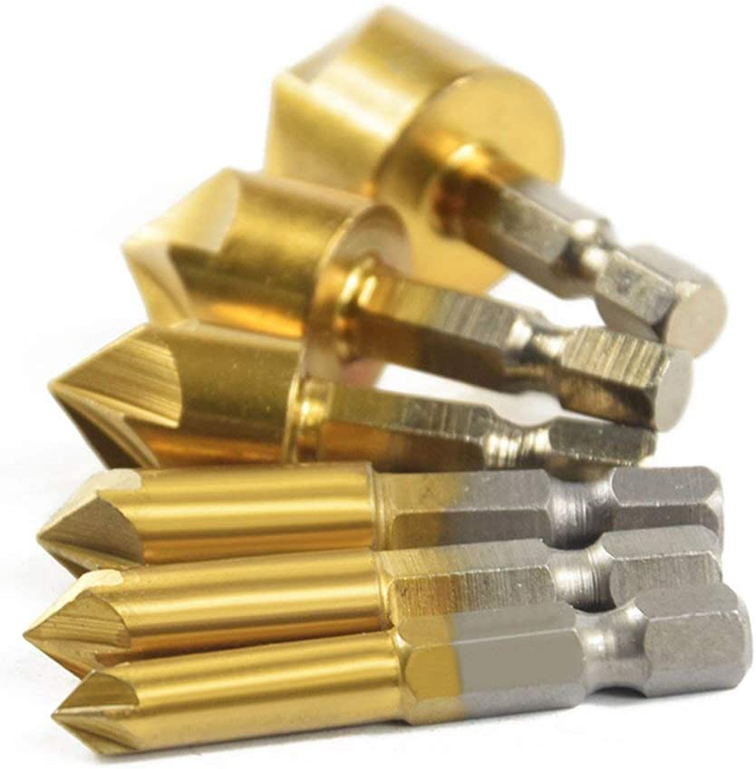 Oro 6 piezas 6 mm 8 mm 9 mm 12 mm 16 mm 19 mm Juego de avellanado de chafl/án V/ástago hexagonal Herramientas de cinco filos y cinco filos