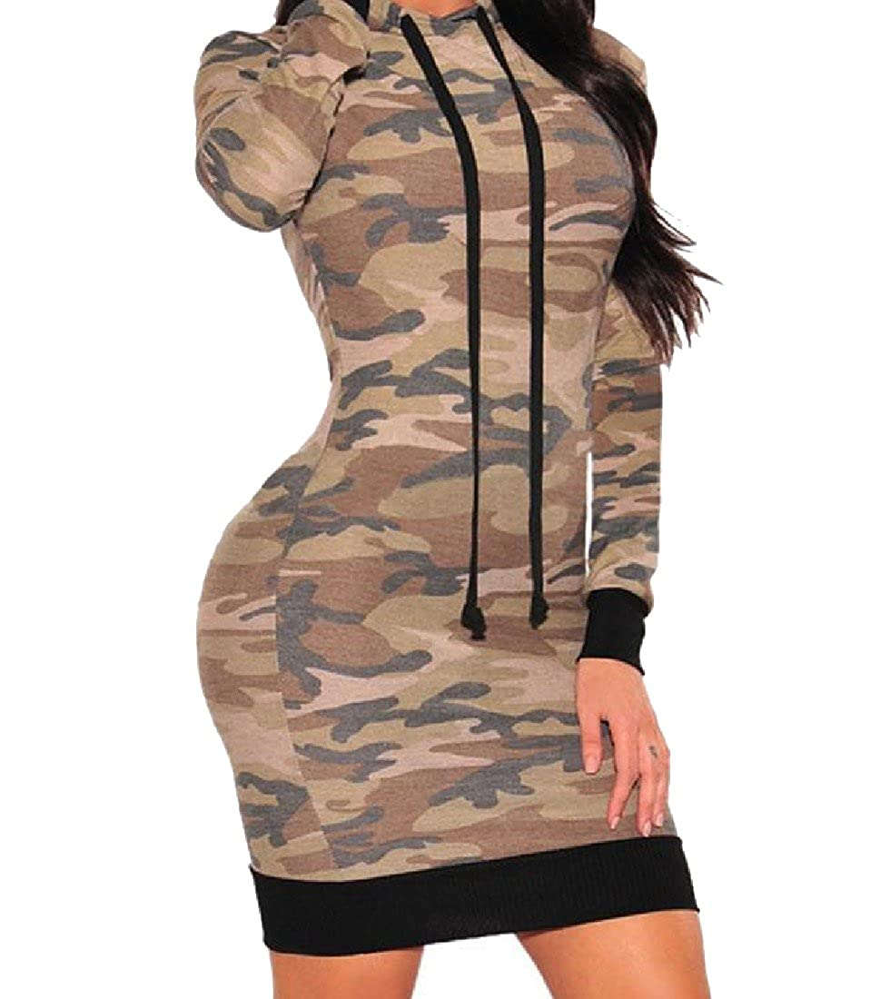 Nicelly Women Drawstring Hooded Camouflage Oversized Mid Length Dress