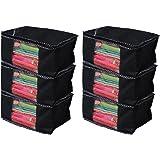 Kuber Industries™ Non Woven Saree Cover/Saree Bag/Storage Bag Set of 6 Pcs (Black) 9 Inches Height (KS019)
