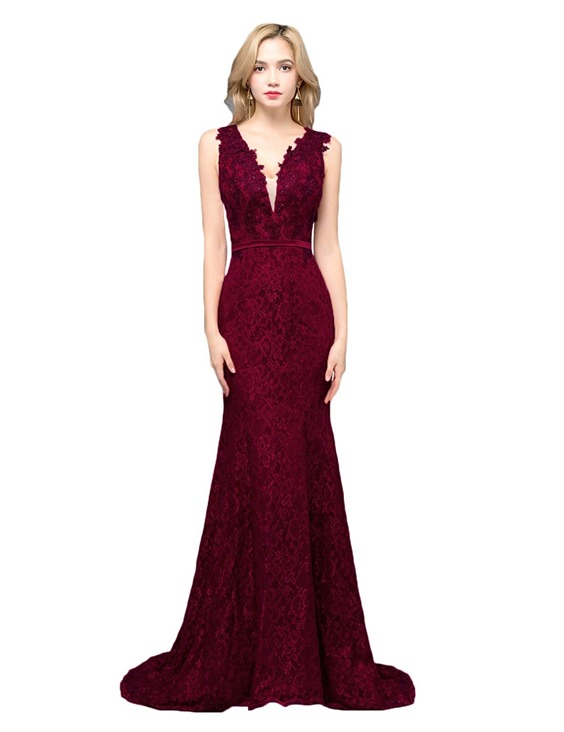 Burgundy CIRCLEWLD Sheer Plunging V Neck Lace Prom Dresses Mermaid Evening Gown Womens P197