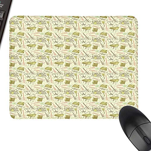 (Jazz Music Desk Pad, Office Desk Mat Doodle Set of Different Instruments Entertainment Band Equipment Drawing with Stitched Edges 11.8