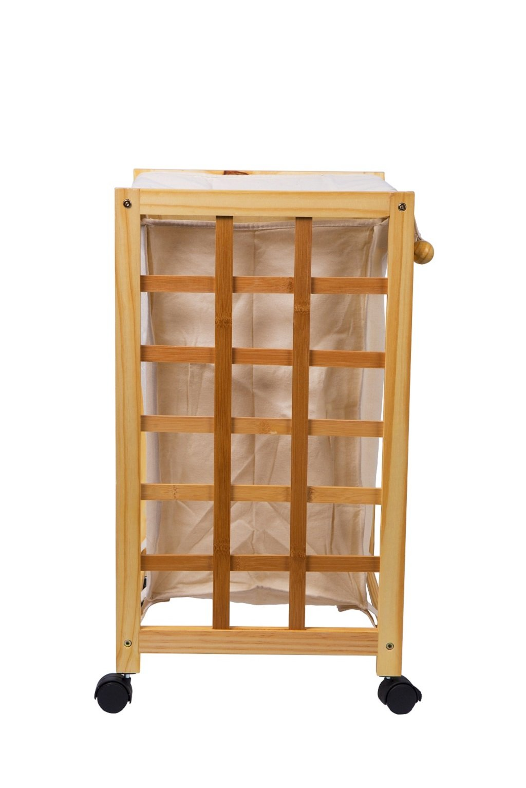 Laundry Hamper Sorter Cart Clothes Basket Storage with Wheels and Cover Bamboo Design by Bamfan (Image #6)
