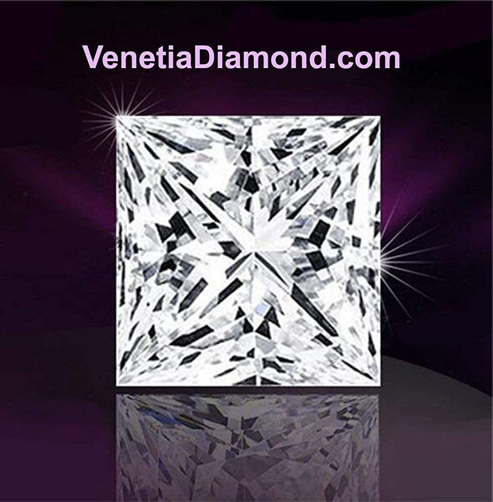 Venetia Realistic Supreme Princess Cut Simulated Diamond Ring Band Set 925 Silver Platinum Plated