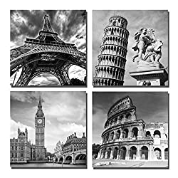 Yin Art- European Architecture Canvas Print Leaning Tower of Pisa & Eiffel Tower Italy Roman Colosseum & London Big Clock Wall Art Classical Artwork 30x30cm