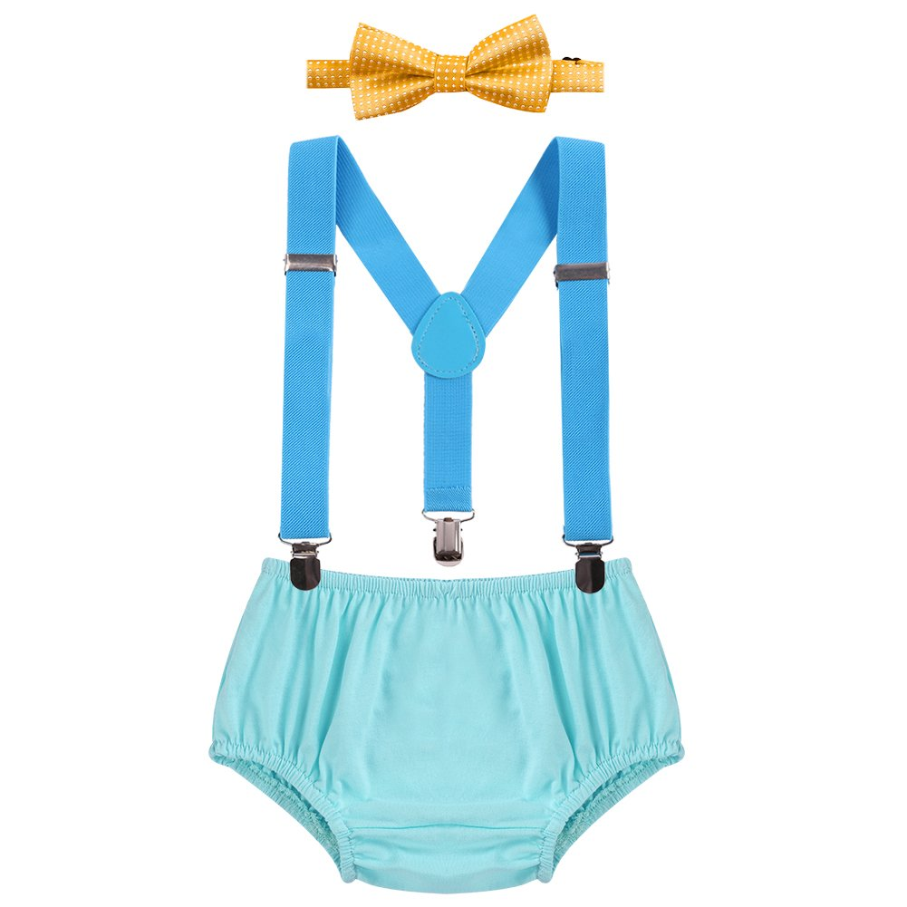 Baby Boys 1st/2nd Birthday Smash Cake Outfit 3PCS Suspender+Diaper Pants+Bow Tie Dark Blue 3-24 Months