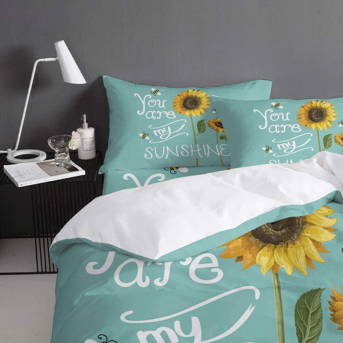 Bed Sheet Pillow Shams Sunflower Duvet Cover Set Printed 4 Pcs Bedding Set Queen Size Include Duvet Cover You Are My Sunshine Soft Quilt Sets For Children Adults Kids Furniture Décor Storage