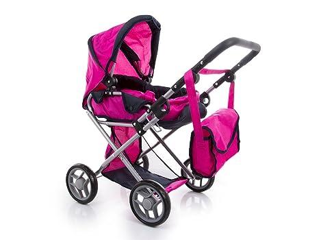Kinderplay Cochecito para muñeca con bolsa, color rosa (KP0200A)
